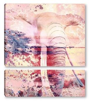 Модульная картина Слон. Сафари. Арт
