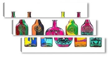 Модульная картина Пять стеклянных бутылок с абстрактным рисунком на белом фоне