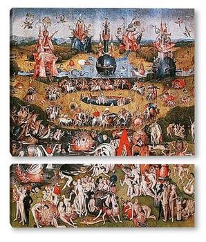Модульная картина Сад земных наслаждений-фрагмент триптиха
