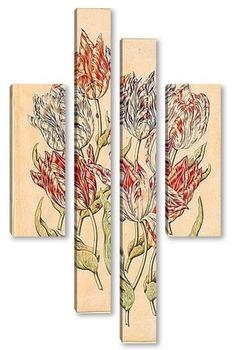 Модульная картина Семь тюльпанов, три божьи коровки