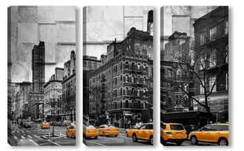 Модульная картина Желтое такси
