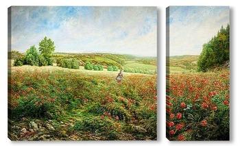 Модульная картина Край поля в цвету
