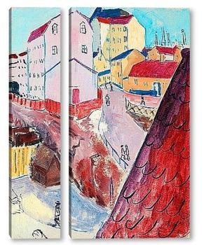 Модульная картина Красные крыши, Стокгольм, 1914