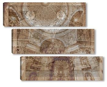 Модульная картина Старинная карта мира