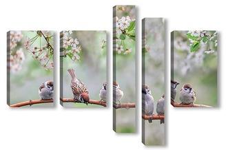Модульная картина птенцы в мае