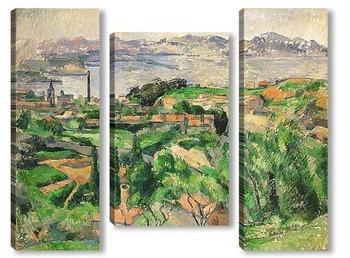 Модульная картина Вид на залив Марсель с деревни Сен-Анри