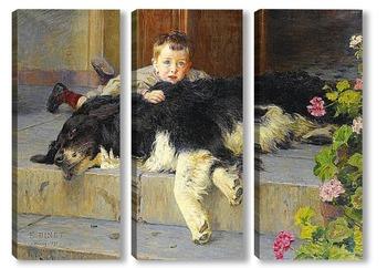 Модульная картина Мальчик с собачкой