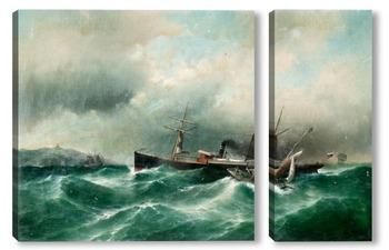 Модульная картина Корабль в бушующем море