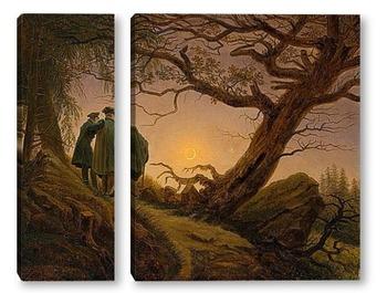Модульная картина Двое мужчин рассматривают луну
