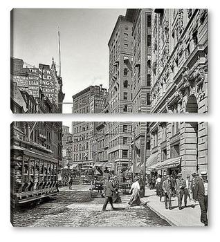 Модульная картина Газетный ряд, Вашингтон-стрит, 1906