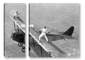Модульная картина Партия в теннис на крыле самолёта