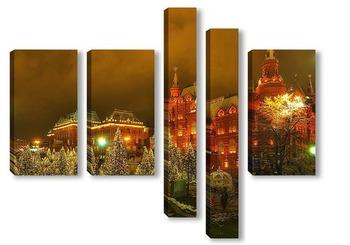Модульная картина новогодние ёлки на манежной площади