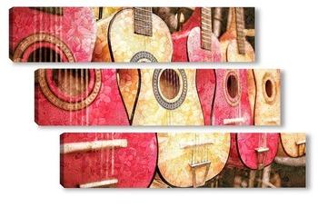 Модульная картина Коллекция гитар