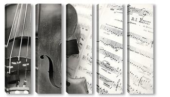 Модульная картина скрипка со струнами
