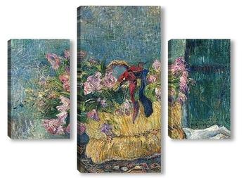 Модульная картина Розы в корзине