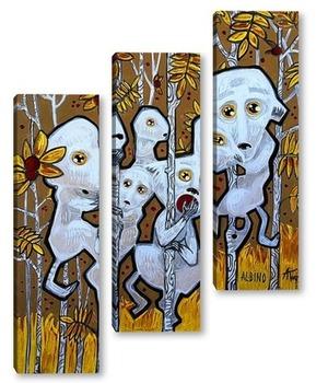 Модульная картина Лемуры-альбиносы