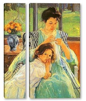 Модульная картина Молодая мать за шитьём,1902г.