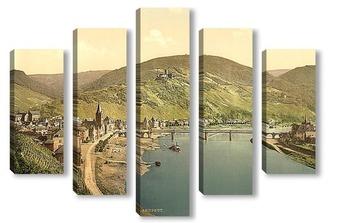 Модульная картина Бернкастель и Бург Ландсхут, Мозель долина, Германия. 1890-1900 гг