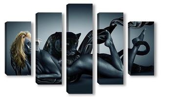 Модульная картина Черные пантеры