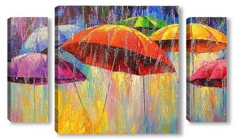 Модульная картина Танцующие зонтики