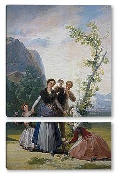 Модульная картина Девушка с цветами или весна