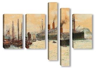 """Модульная картина Канадской Тихоокеанской лайнер """"Императрица Австралии"""" в гавани"""