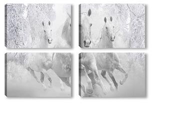 Модульная картина Зимние лошади