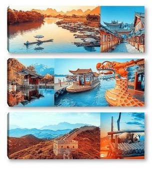 Модульная картина Красочный Китай