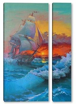 "Модульная картина Картина ""Парусник на море"""