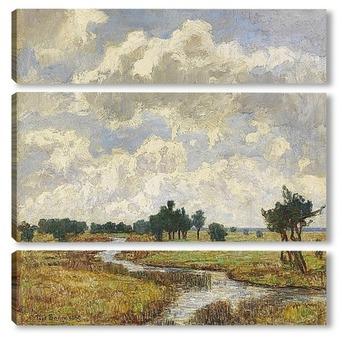 Модульная картина Солнечно-облачное небо через болотистые луга