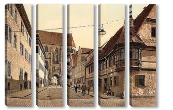 Модульная картина Ротенбург (т.е. об-дер-Таубер), Бавария, Германия.1890-1900 гг