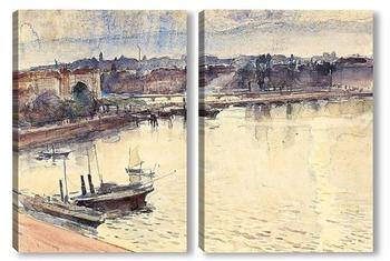 Модульная картина Женева. Озера и молодежный мост, 1895