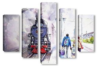 Модульная картина Семейный паровоз. Федор Усачев.