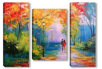 Модульная картина Осенняя прогулка в парке