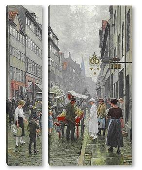 Модульная картина Уличная жизнь в Копенгагене