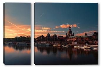 Модульная картина Закат в Дрездене