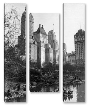 Модульная картина Вид на озеро в Центральном парке,март1938г