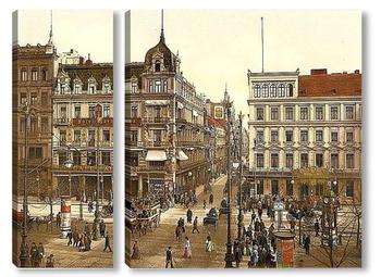 Модульная картина Кафе Бауэр, Унтер-ден-Линден, Берлин, Германия. 1890-1900 гг