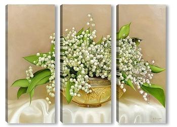 Модульная картина Ландыши в хрустальной вазе