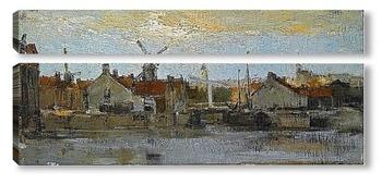 Модульная картина Вид голландского города на набережной
