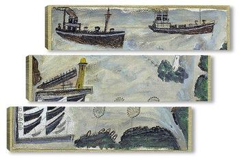 Модульная картина Пароходы на входе в гавань