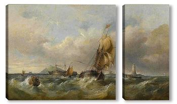 Модульная картина Торговая шхуна при волнении на море