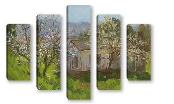 Модульная картина Два цветущих дерева
