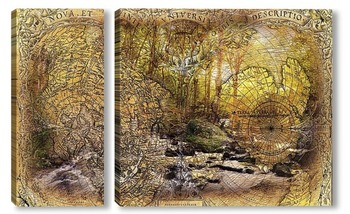 Модульная картина Карта и лес