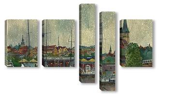 Модульная картина вид на старый Таллин в дождь