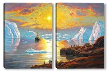 Модульная картина Полуночное солнце, Гренландия