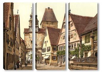 Модульная картина Башня Святого Марка, Ротенбург (т.е. об-дер-Таубер), Бавария, Германия. 1890-1900 гг