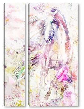 Модульная картина Лошадь. Акварель