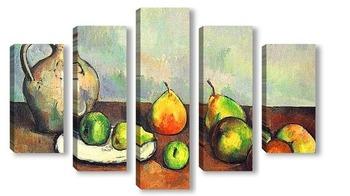 Модульная картина Натюрморт с кувшином и фруктами.