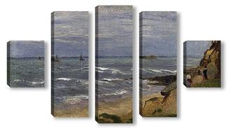Модульная картина Морской пейзаж с фигурами на скалах